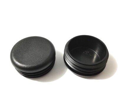 14 Gauge Black Caps ((2) Round Black Tubing End Plugs Plastic Insert Caps 1-3/4