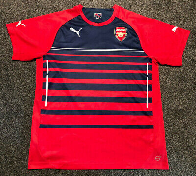 Large Men's Puma Arsenal Red/Blue Striped Training Shirt Top: 2014/2015 Season