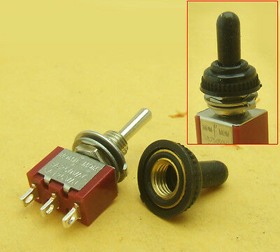 5pcs Waterproof Momentary Mini Toggle Switch On-off-on 3 Pin 3a 250v 5a 125v
