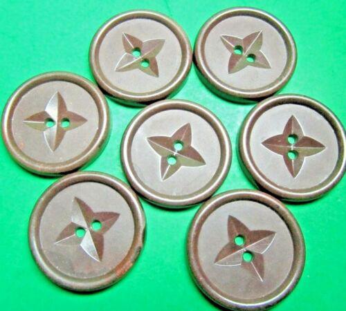 "(7) VINTAGE 1&1/16"" DECORATIVE 4-POINT STAR BROWN PLASTIC 2 HOLE BUTTONS (C425)"