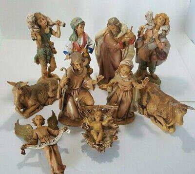 """Fontanini Nativity Set Large 7.5"""" Mary Joseph Jesus Donkey Cattle Shepherd Drum"""