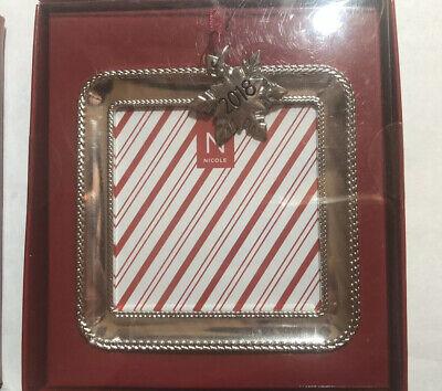 2018 Nicole Mini Picture Photo Frame Christmas Ornament Silver Square. Christmas Mini Frame