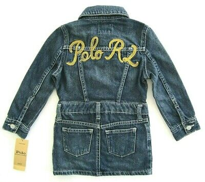 Polo Ralph Lauren Toddler Girls 3/3T L/S Jean Embroidery 'POLO R L' Back Dress Girls L/s Polo