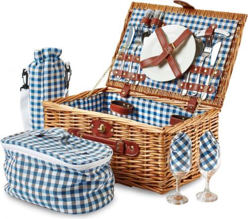 2 person picnic hamper basket : Andrew james person luxury wicker basket picnic hamper