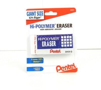 Pentel Giant Size Hi-polymer Eraser Latex Free W Protective Sleeve Zeh20