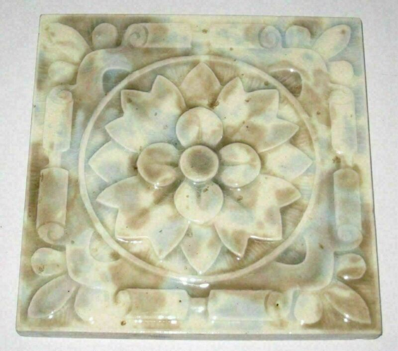 Antique Floral & Geometric Flower Victoria English Molted Tile c: 1890
