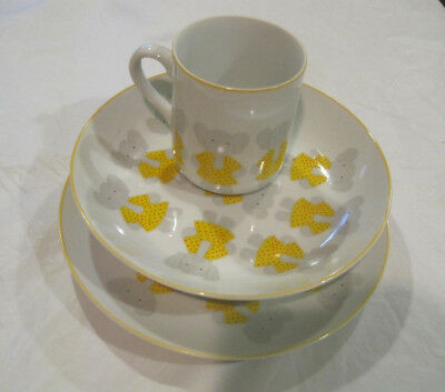 Set of 3~Pachaderm-a-Go-Go Set~Elephant Plate Bowl Cup~Yellow White~LBDLO