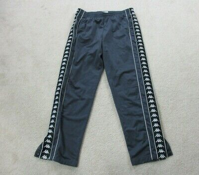 VINTAGE Kappa Pants Adult Extra Large Gray Black Warm Up Soccer Tear Away Mens *