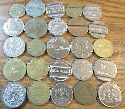 Lot of 25 Vintage Foreign World Tokens - #4