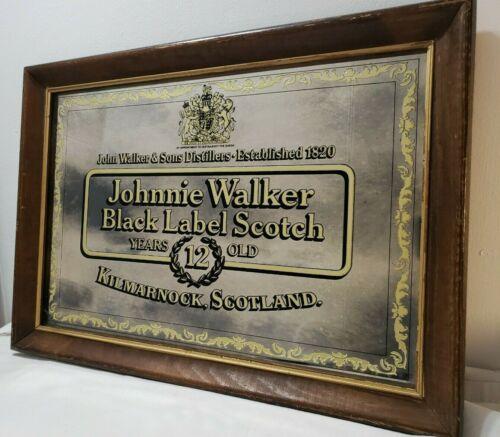 Vintage Johnnie Walker Black Scotch Mirror Advertising Sign W Wood Frame! Rare!