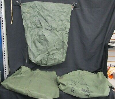 3 - Vintage U.S. Military Waterproof Clothing Bags OD Green Tiestring