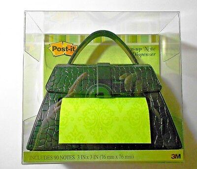 New 3m Post It Note Dispenser Black Handbag Purse W Designed Notes 3 X 3