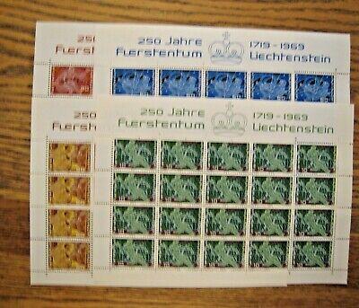 Liechtenstein 2 sets of S/S 1969 4 sheets per set w/20v each numbered MNH OG