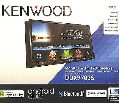 """Kenwood DDX9703S CarPlay Android Stereo 2DIN In-Dash DVD CD AMFM 6.95"""" Touch NEW"""