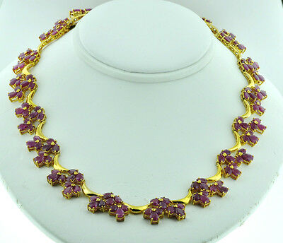 30.20 ct 14k Solid Yellow gold Natural Ruby Necklace 42.36 grams Victorian style