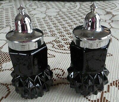 Cameo black diamond point salt & pepper shakers by Tiara FREE SHIP silver -