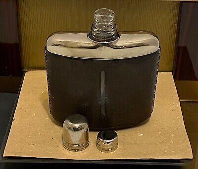 VINTAGE GUCCI BROWN SQUARE FLASK W/ - CAP IS SHOT GLASS - EUC