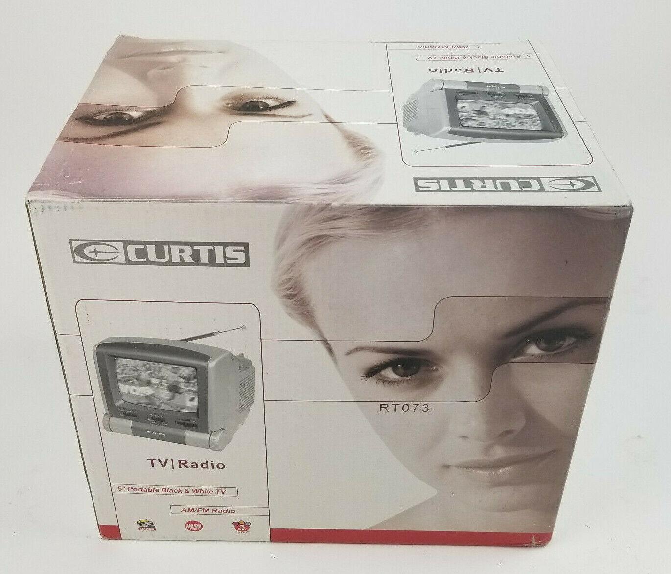 "Curtis 5"" Portable Black & White TV with AM/FM Radio NEW SEA"