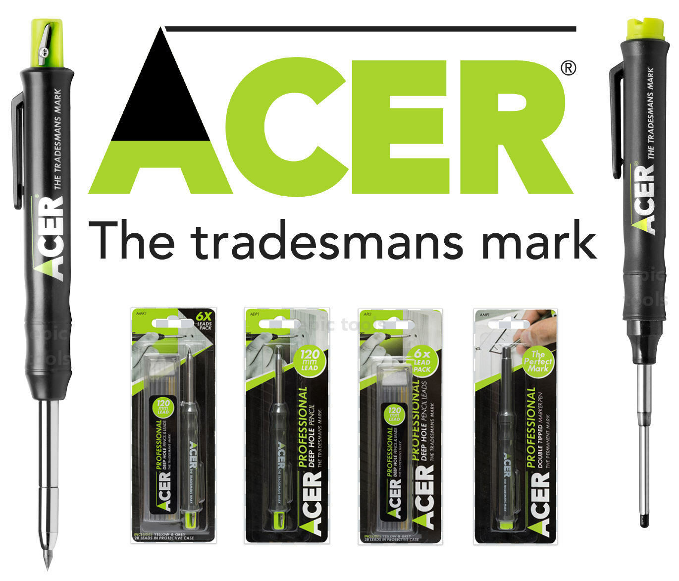 Acer Marking Deep Hole Marker Ink Pen Pencil and Refill Lead Set Kit AMK2