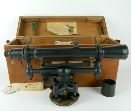 W&LE Gurley Surveyors Transit Level Engineering Instrument w/ Case - Dirty Lens