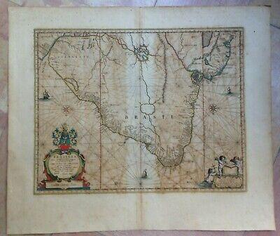 BRAZIL 1662 WILLEM BLAEU UNUSUAL LARGE NICE ANTIQUE ENGRAVED MAP 17e CENTURY