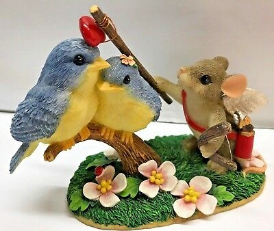 FITZ FLOYD Charming Tails Mouse Bluebirds Love Valentine Heart Cupid LOVE BIRDS