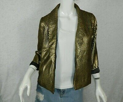 Lace & Mesh Modcloth Blazer Sequin Gold One Button Size X-Small](Gold Sequin Blazer)