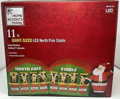 New 11 ft Giant-Sized LED North Pole Stable Santa Reindeer Airblown Inflatable