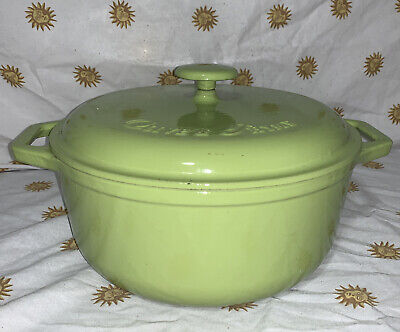 Vintage Olive & Thyme 5qt cast iron Lime Green Enameled Dutch Oven pot with Lid