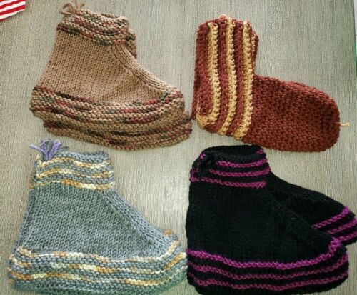 4 NEW HAND KNIT WOMENS SLIPPERS yarn assorted COLORS DESIGNS one size fits most