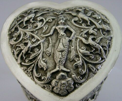BEAUTIFUL INDIAN SOLID SILVER TEA CADDY HEART BOX CANISTER c1900 ANTIQUE 128g