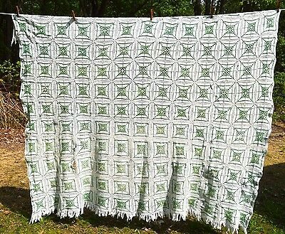 Vintage Crochet Bedspread Coverlet Full/Queen Size White and Green Handmade
