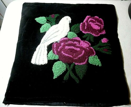PUNCH NEEDLE EMBROIDERY PILLOW CASE BLACK BACKGROUND W/RED ROSES & WHITE DOVE