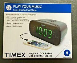 TIMEX T231GY AM/FM CLOCK RADIO with Digital Tuning Dual Alarm MP3 Line