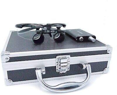 2.5x Surgical Binocular Loupes 3w Led Headlight Lamp Black Aluminum Box Usa