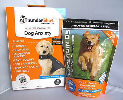 Thundershirt Dog Anxiety Shirt Grey M & Cosequin DS Joint Health Supplement