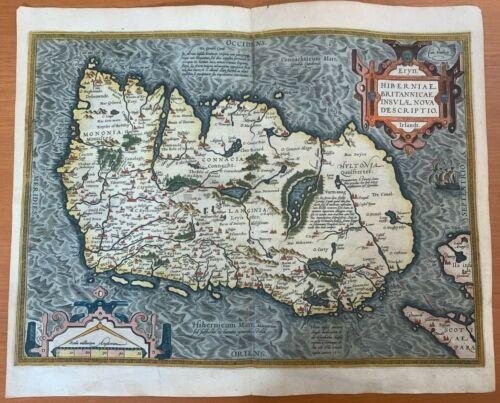 1571 ABRAHAM ORTELIUS IRELAND HIBERNIA IRLAND HIGH QUALITY COLOR ORIGINAL MAP