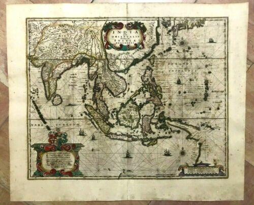 EAST INDIES c. 1640 JAN JANSSON LARGE UNUSUAL ANTIQUE ENGRAVED MAP 17TH CENTURY