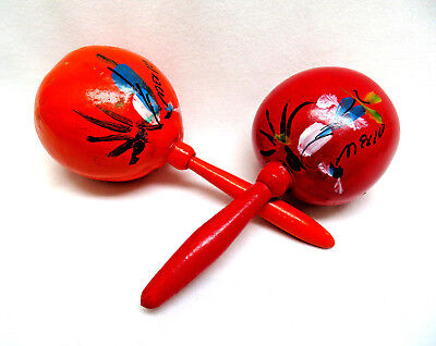 Mexican Maracas Hand Painted Rumba Shakers Percussion Instrument Mexico