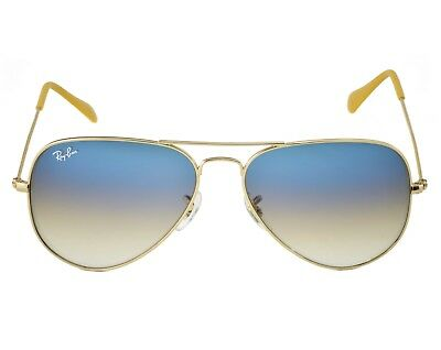 RayBan RB3025 Aviator Gradient 001/3F Gold Frame/Light Blue Gradient Lenses (Aviator Blue Gradient)