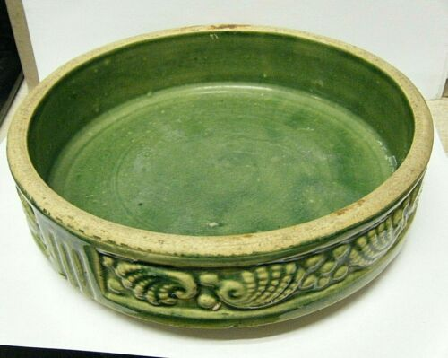 """Vintage 8"""" x 2"""" Brush McCoy Green Pottery Planter Bowl Shell and Pearl #295"""