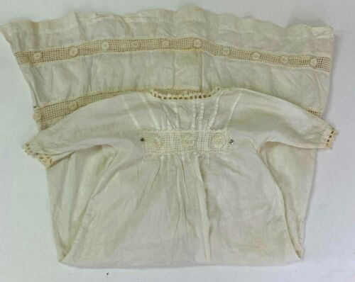 Vintage Baby Long Edwardian Dress Ivory Cream Embroidered Cotton Christening