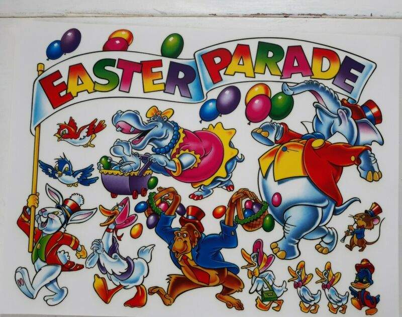 Easter Window Clings 2  Decals Reusable Easter Bunny Rabbits Easter Egg Static