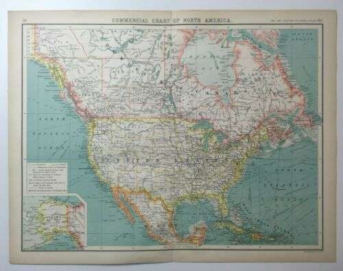 Antique Map Of North America Commercial Chart   C1900