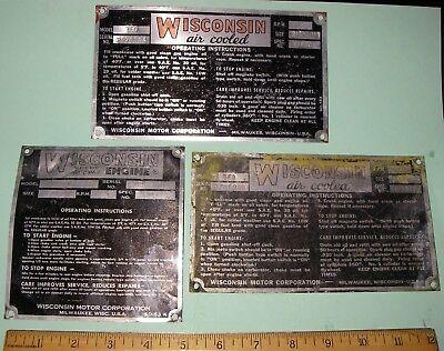 3 Antique Original Wisconsin Engine Specificaton Id Plates Industrial Plaques