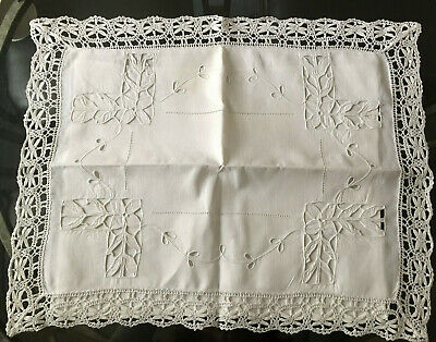 ANTIQUE Continental White Cotton Pillow Case Lace Whitework Embroidery 16X14