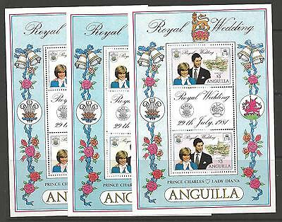 ANGUILLA SG464/6 1981 ROYAL WEDDING SHEETLETS MNH