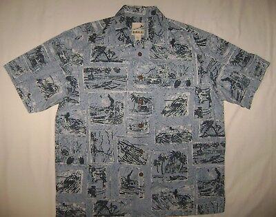 Kahala Blue Cotton Tropical Activity Print Shirt size XL