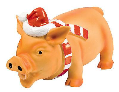 Good boy Small Xmas Latex Piglet pig Dog Toy Grunting Animal