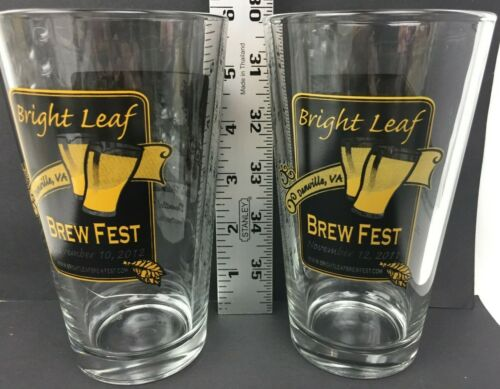 2 Bright Leaf Brew Fest Danville VA Virginia Pint Beer Glasses 2011